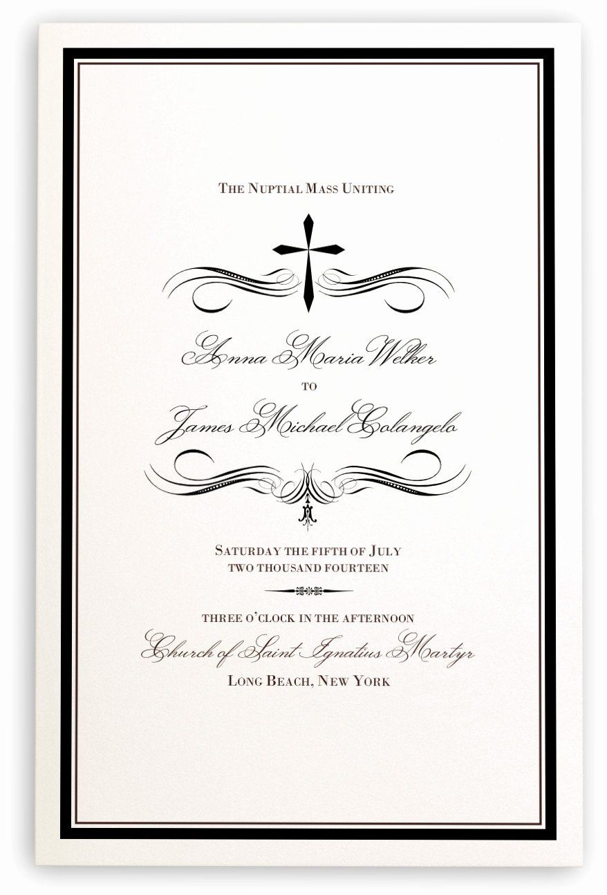 Catholic Wedding Mass Program Template Elegant Christian