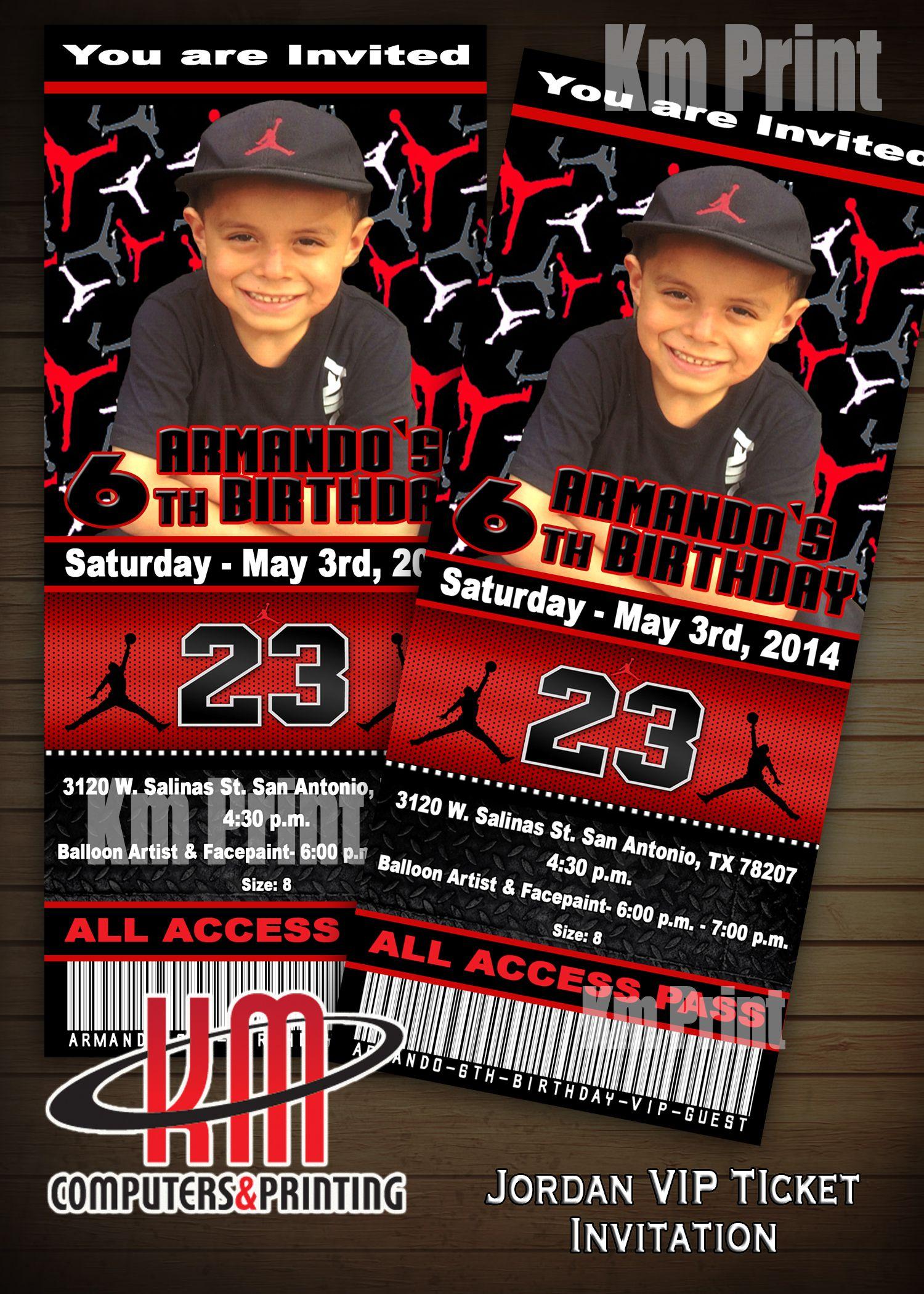 Air Jordan VIP ticket Invitation Size 3x7 Digital u Print 15 or – Michael Jordan Birthday Card