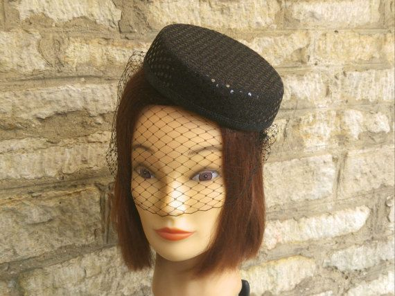 Black Pillbox hat and veil in style of Janet Snakehole April  b9d12e24de2