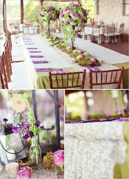 A Rustic Purple And Mint Green Tablescape Decoration Ideas