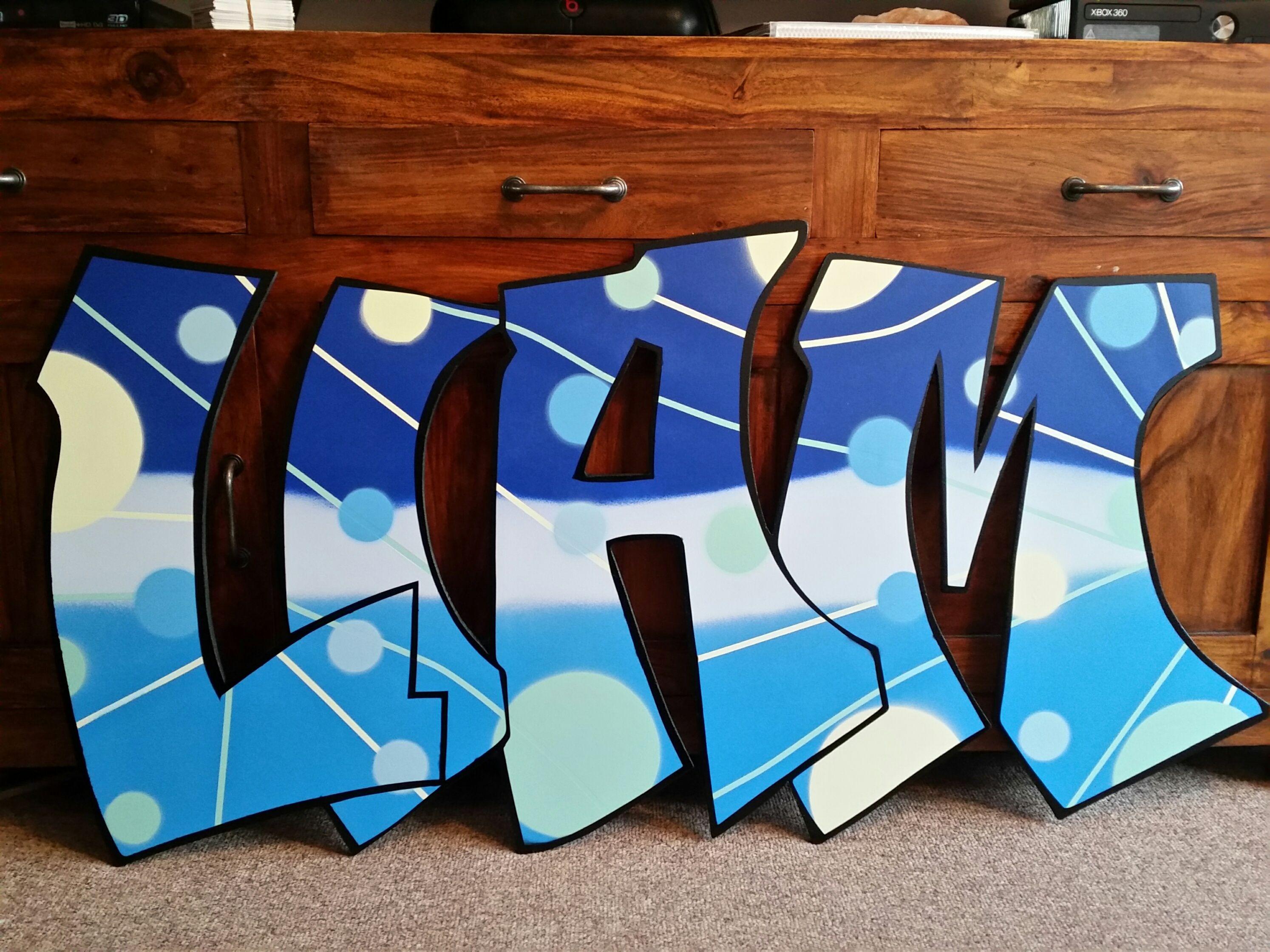 Graffiti art on wood - Liam Graffiti Name