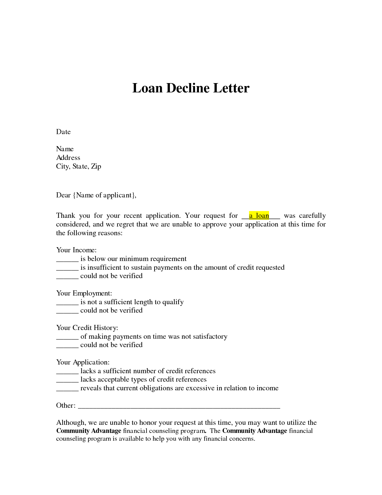 Loan decline letter loan denial letter arrives you can for Loan denial letter template