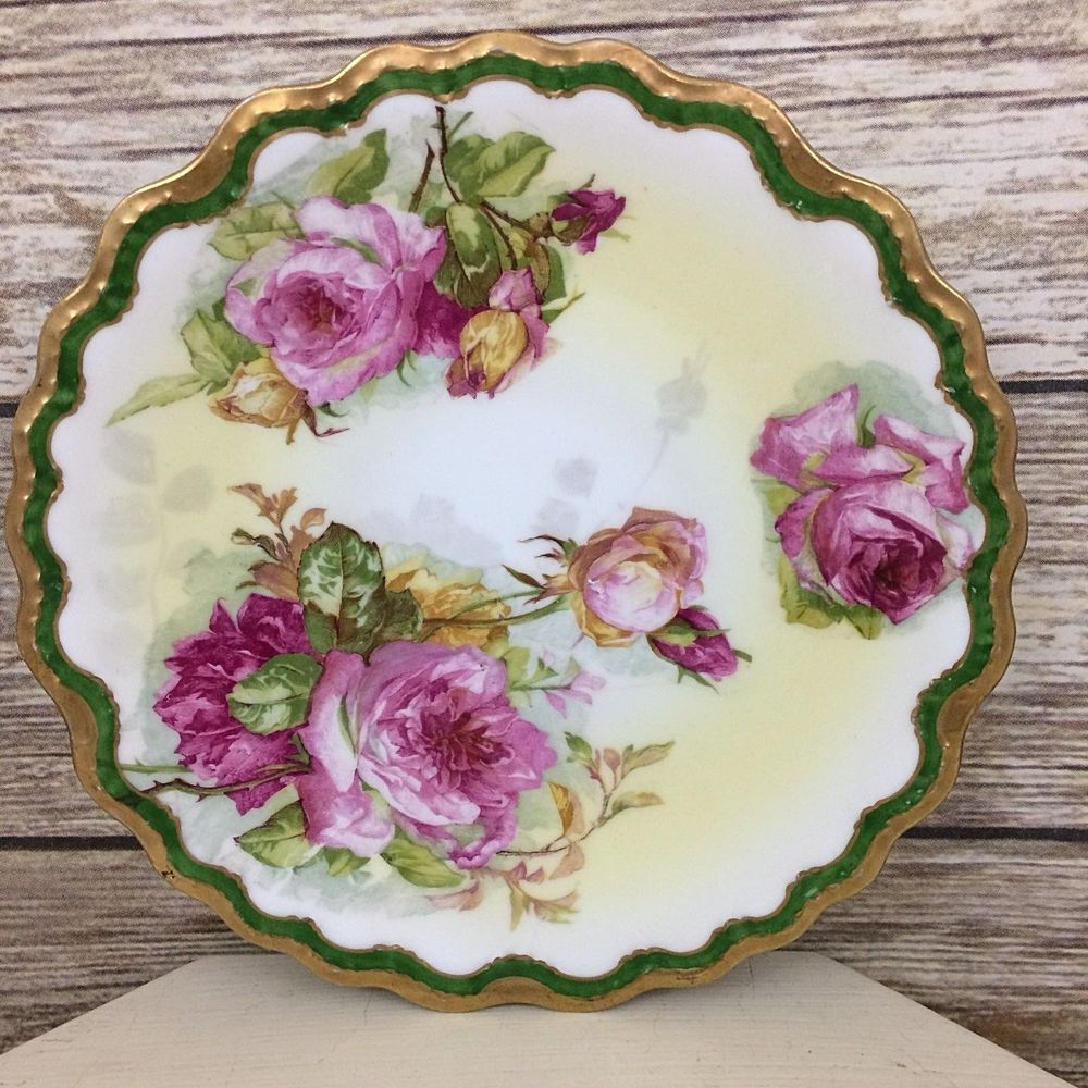 Limoges Coronet France Pink Roses Decorative Scalloped Edge Plate ...