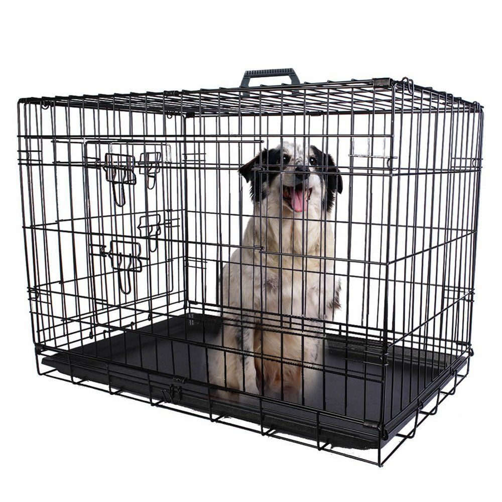 48 Inch Dog Cat Cage Pet Crate Strong Wire Folding Suitcase Kennel Playpen Two Doors Without Divider With Tray Safer For Pupp Dog Cages Cat Crate Dog Playpen