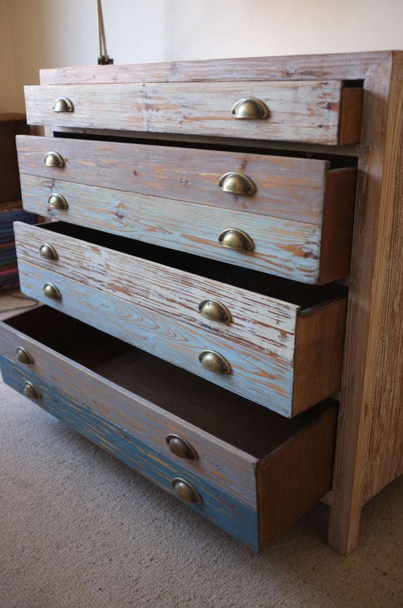 Beach Hut Style Chest of Drawers - Cool ocean tones - Made from reclaimed  wood : ) - Beach Hut Style Chest Of Drawers - Cool Ocean Tones - Made From