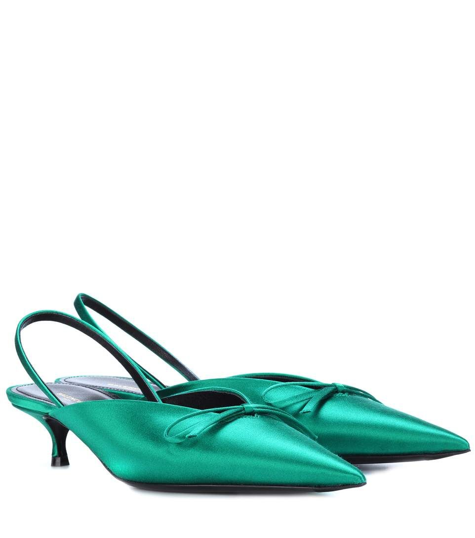 Balenciaga Knife satin slingback pumps w9LMy