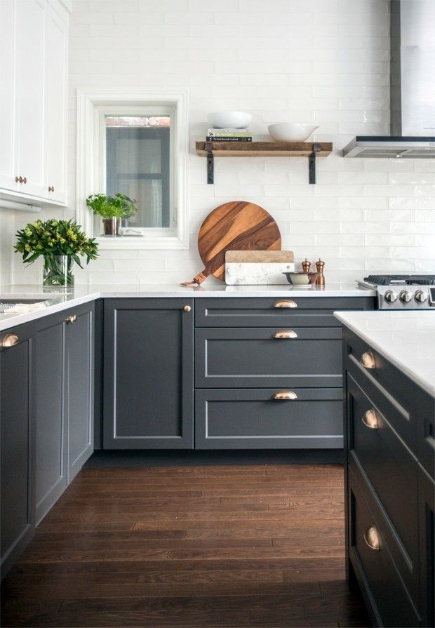 kitchen with white upper cabinets and dark gray bottoms cabinets and wood accents