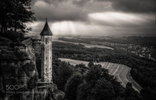 Turm & Tal by nolte84  landscape travel clouds europe tower old castle germany rays fortress medieval saxony königsstein no