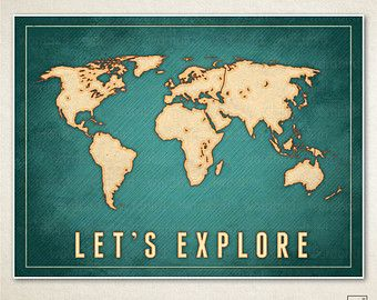 Popular items for world map poster on etsy fb quotes pinterest items similar to lets explore map of the world vintage style large world map poster vintage worn map texture adventure map poster travel poster on etsy gumiabroncs Choice Image