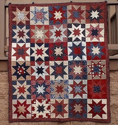 American Patriotic Double Star Red Blue Tan QOV Quilt Of Valor ... : quilts of valor kits - Adamdwight.com