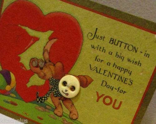 Vtg-Valentine-Card-Art-Deco-20s-30s-Novelty-Sewing-Button-Puppy-Dog