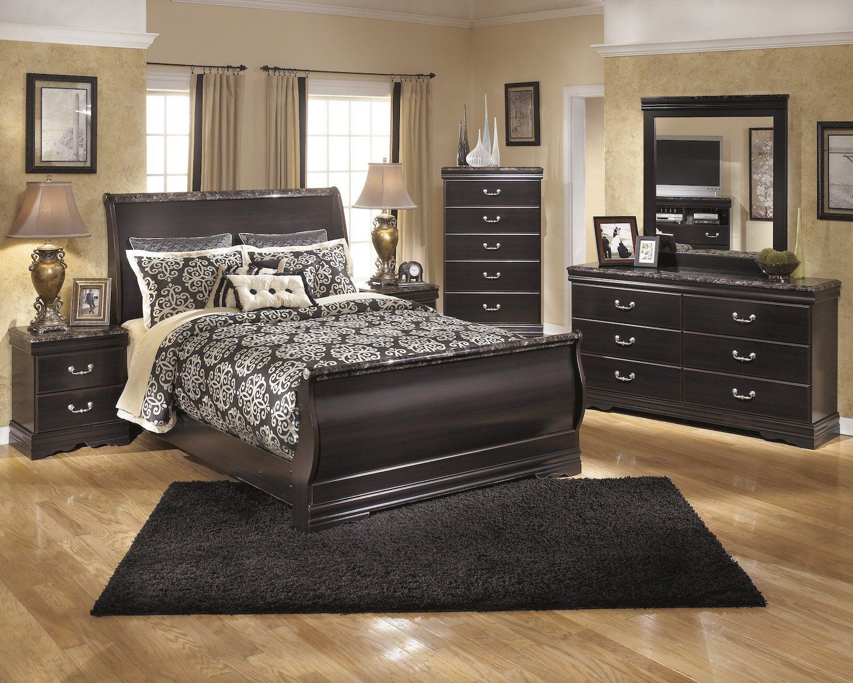 Ashley Esmarelda 5pc E King Sleigh Bedroom Set With Chest In Dark