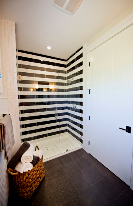 Black And White Shower Tiles Stripes Home Sweet Home