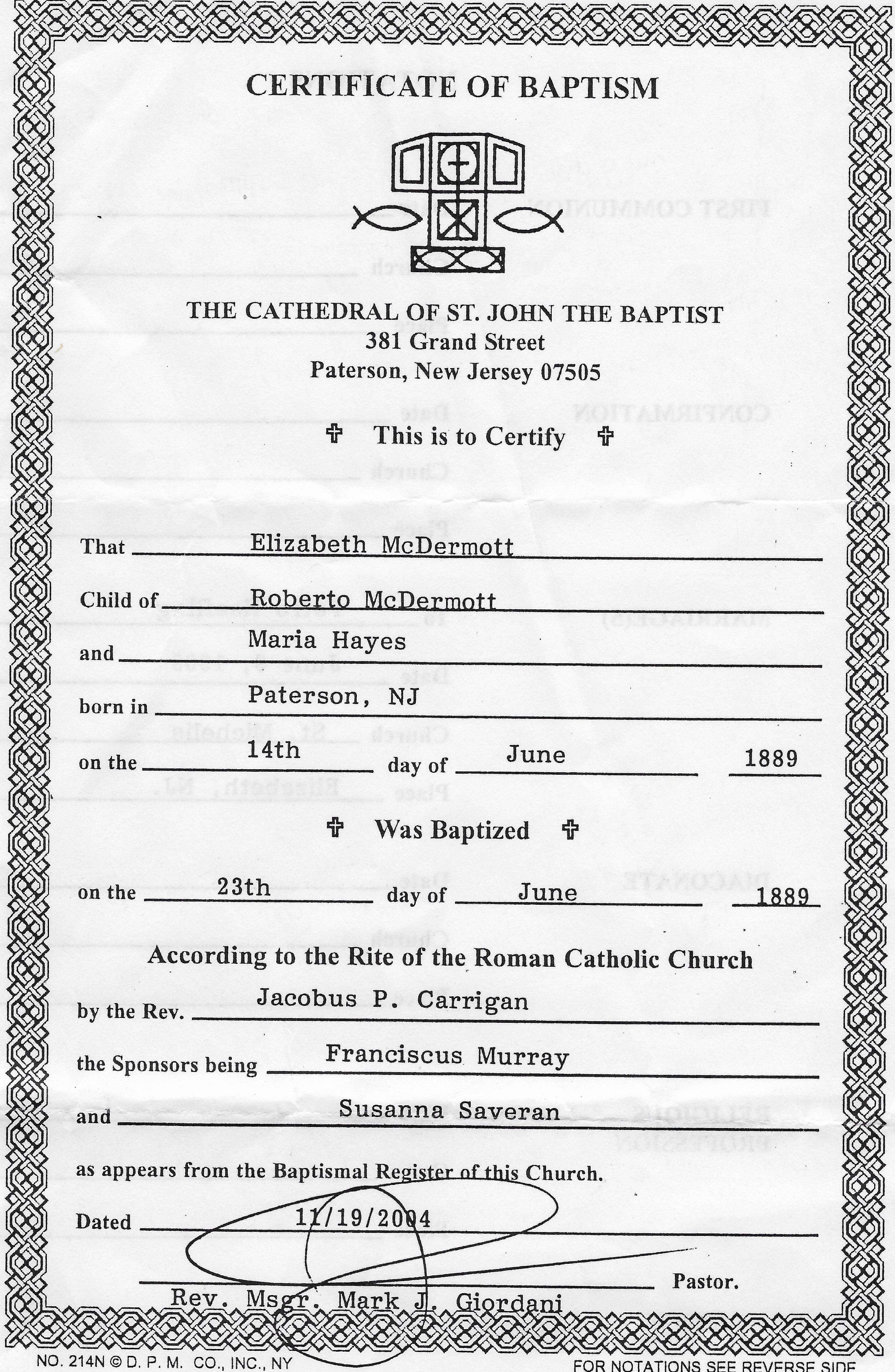 Baptismal Certificate Of Elizabeth Mcdermott Nannies Mother At