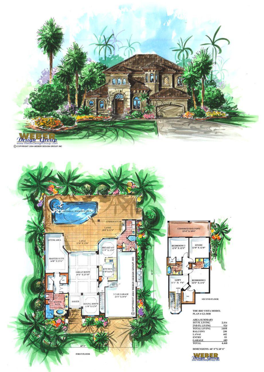 Narrow Lot House Plan 2 Story Mediterranean Coastal Home Plan Narrow Lot House Plans Mediterranean Homes Mediterranean Style House Plans
