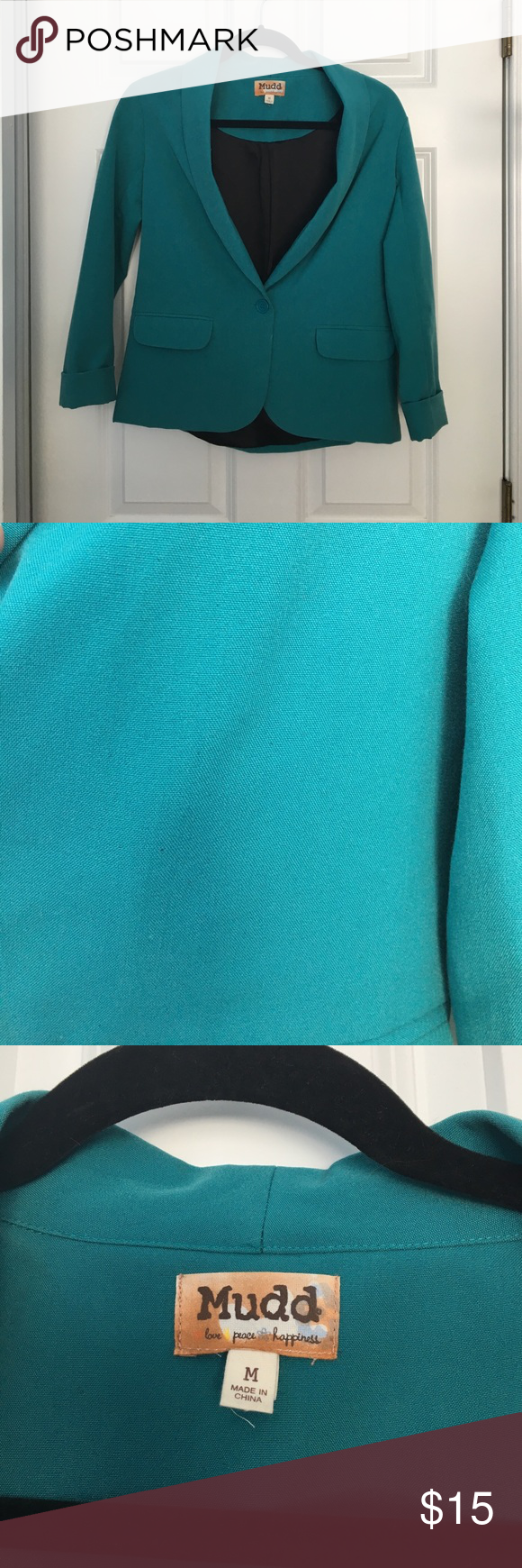 Teal blazer Teal blazer, great for dressing up jeans or to wear to work. Worn only 2-3 times Mudd Jackets & Coats Blazers