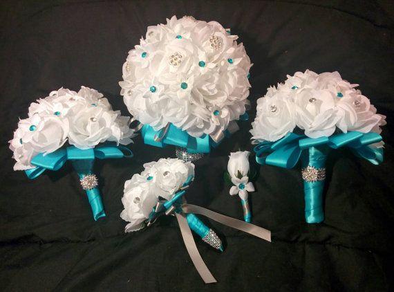 brooch bouquet, white rose bouquet, white bouquet, rose bouquet, wedding bouquet, bridal bouquet, wedding flowers, silk bouquet