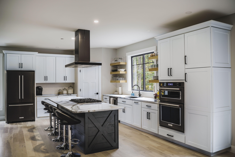 Open Shelves Farmhouse Kitchen Black Appliances Kitchen White Kitchen Appliances Kitchen Cabinets With Black Appliances Farmhouse kitchen with black appliances