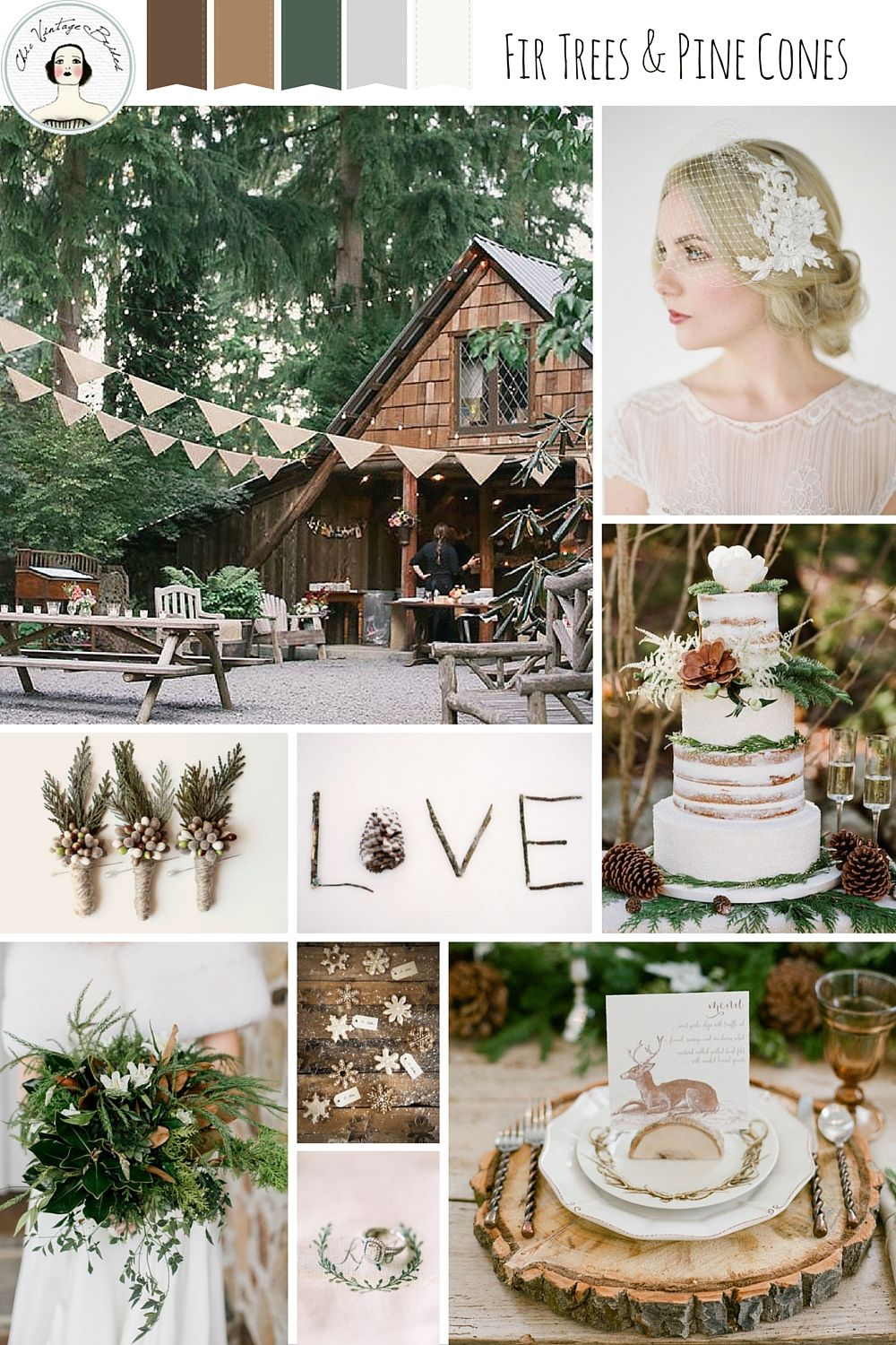 Fir Trees And Pine Cones A Rustic Winter Woodland Wedding Inspiration Board