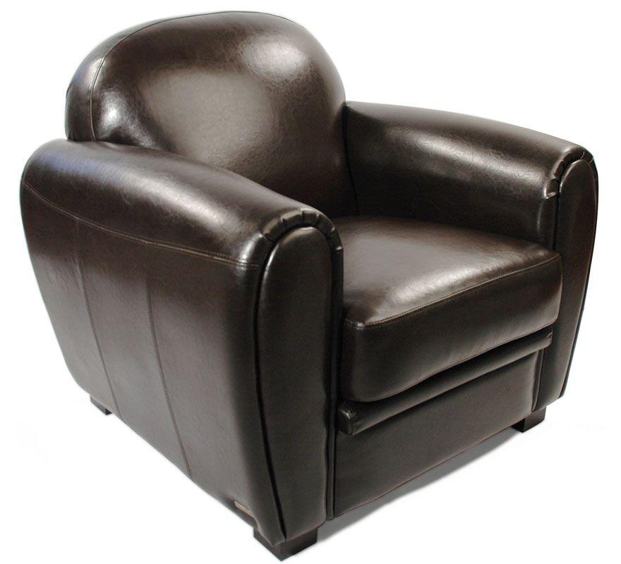 Fauteuil Club cuir marron cuir de vachette Zoom