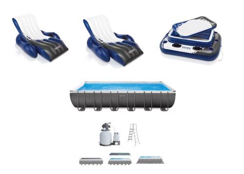 Intex 24 X 12 X 52 Swimming Pool Blue Set W Lounge