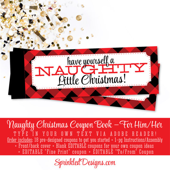 Naughty Christmas Coupon Book Sexy Christmas by SprinkledDesign - print your own voucher