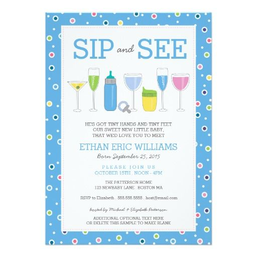 Blue Cocktail New Baby Boy Sip And See Invitation Zazzle