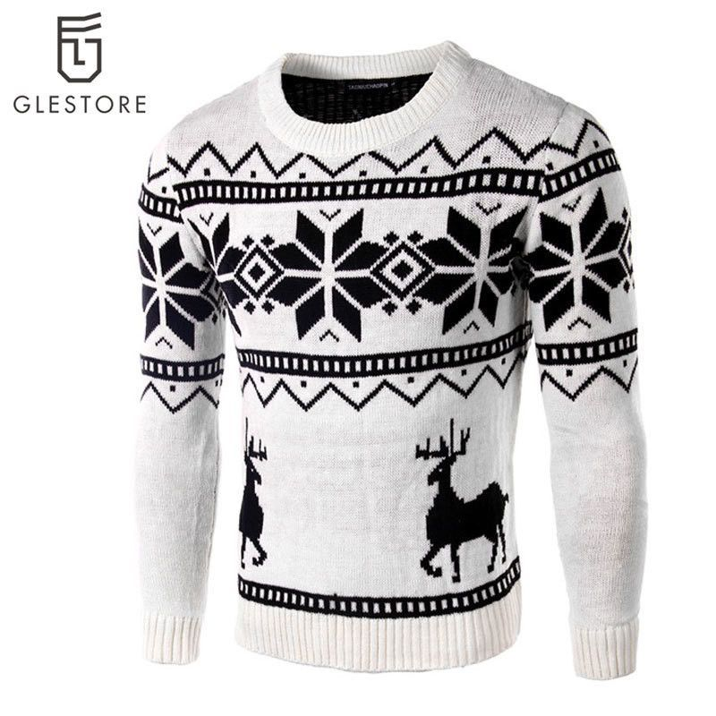 Autumn/Winter Sweater Men Deer Animal Sweater Christmas Day Gift Pullover Winter Warm Casual Knitted Sweater XS-L