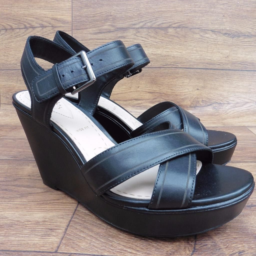 5f34abf98d0b0 Size uk 7 e clarks somerset scent sky black leather platform wedge sandals  shoes