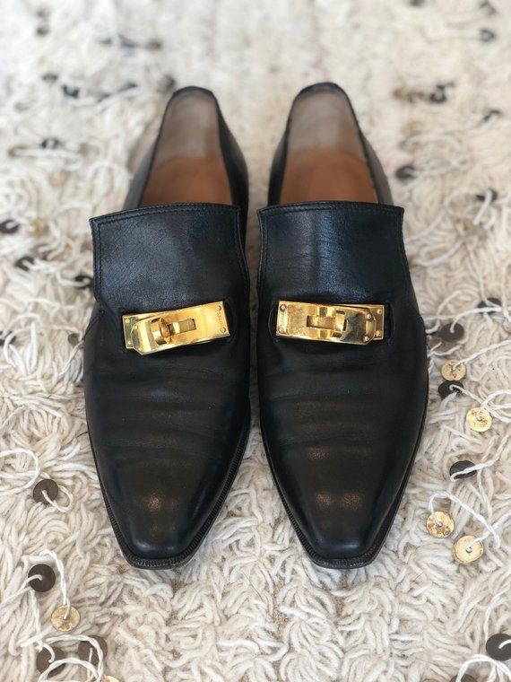 Vintage HERMES Logo Birkin Turn Lock Black Leather Loafers Driving Shoes  Heels Flats eu 37 us 6.5 -