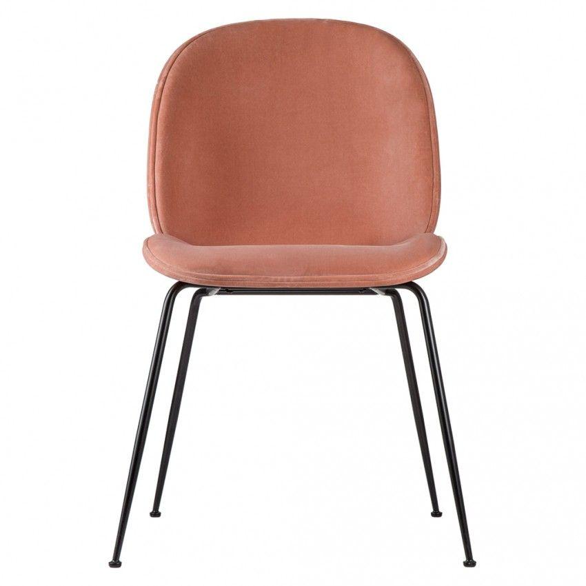 Beetle Chair Light Pink Velvet With Black Legs Interiors
