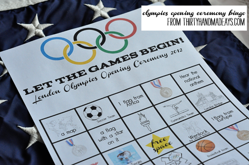 Opening Ceremony Bingo (free printable) from Thirty Handmade Days