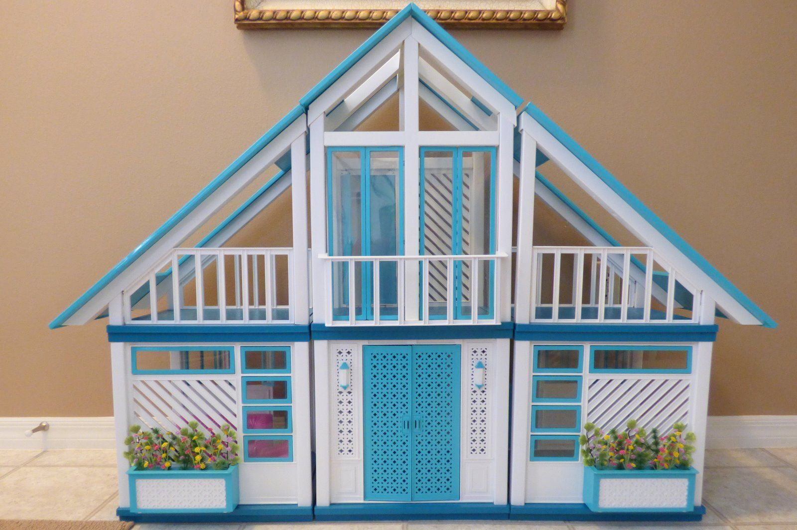 Vintage Barbie Dream House 1978 Teal And White Ebay