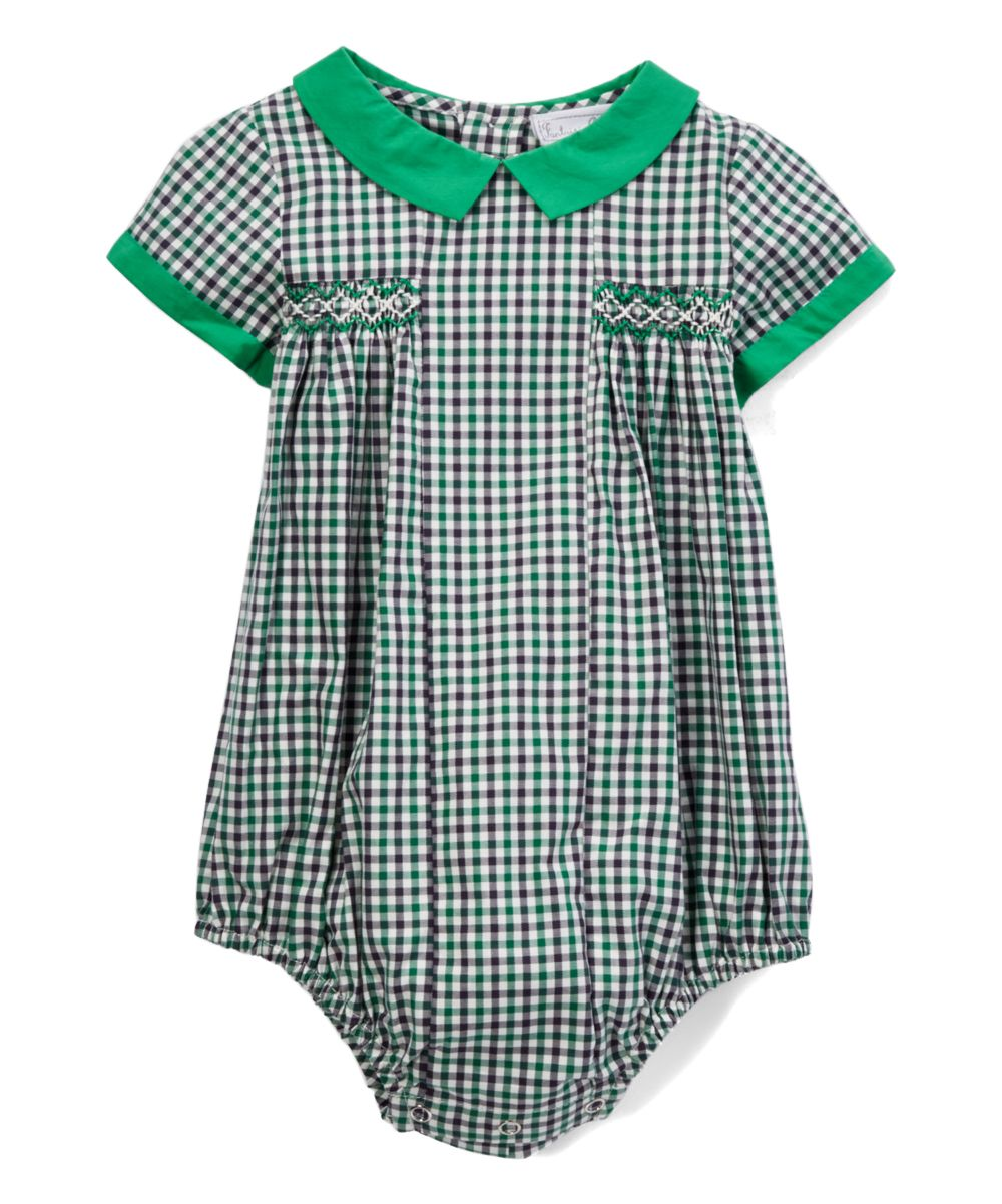 233cba845195 Green Gingham Smocked Bubble Romper - Infant