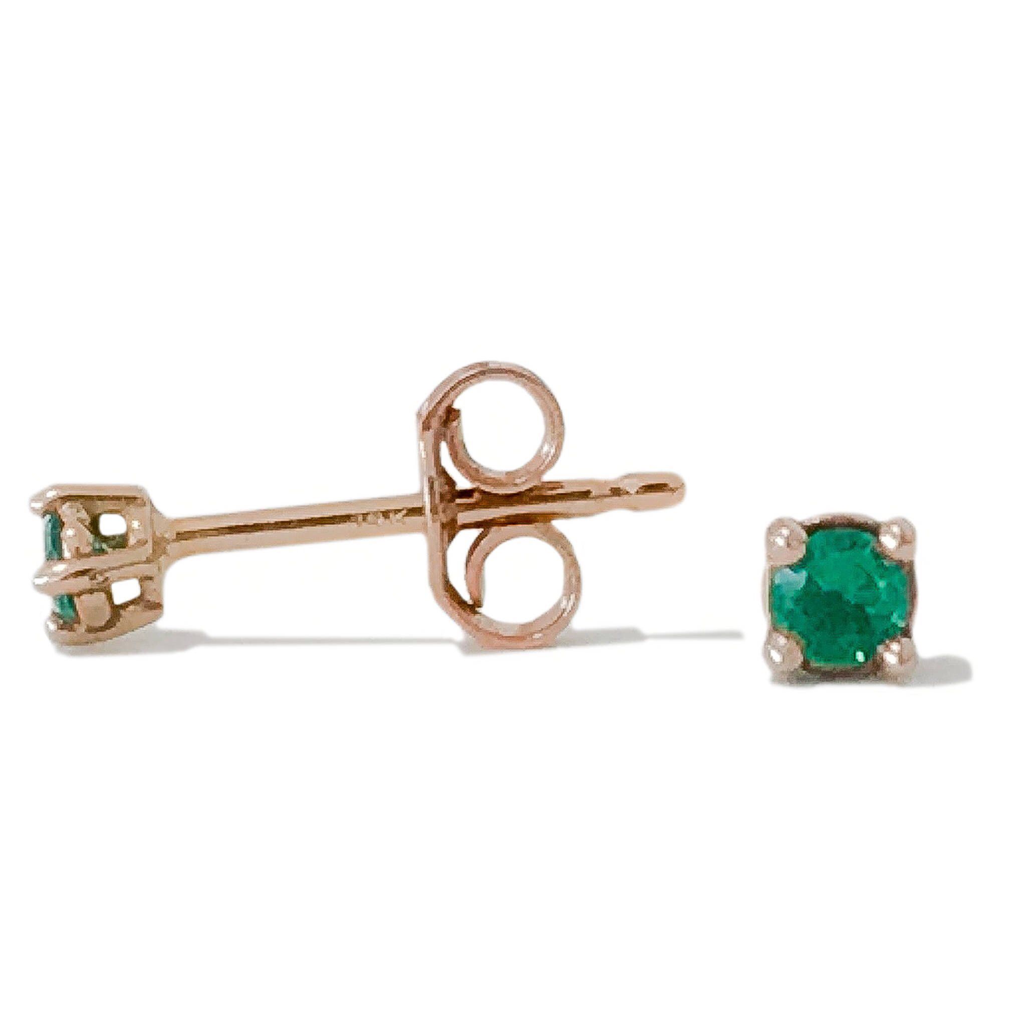 3c0f28726 2mm Emerald Solitaire 14K Solid Gold 4 Prong Stud Earring (Real Natural  Emerald Gemstones)