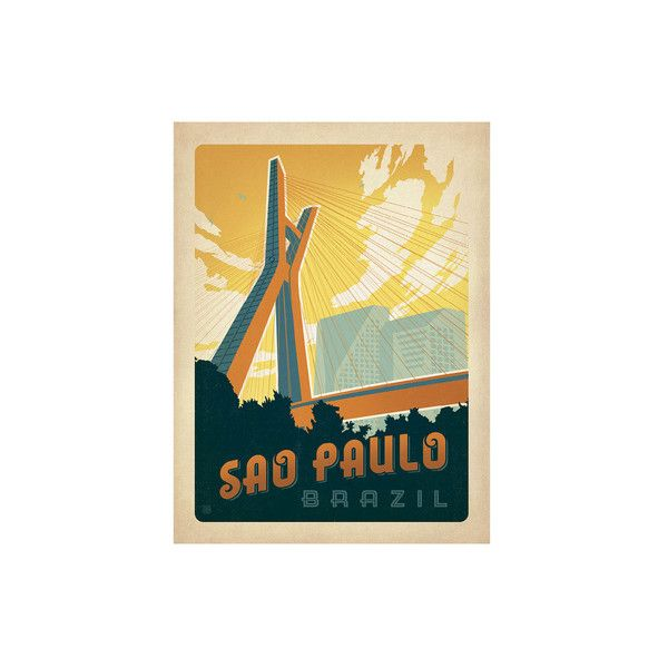 Sao Paulo, Brazil Wall Art Print ($17) ❤ liked on Polyvore featuring home, home decor, wall art, home wall decor, wall coverings, wall-cover and interior wall decor
