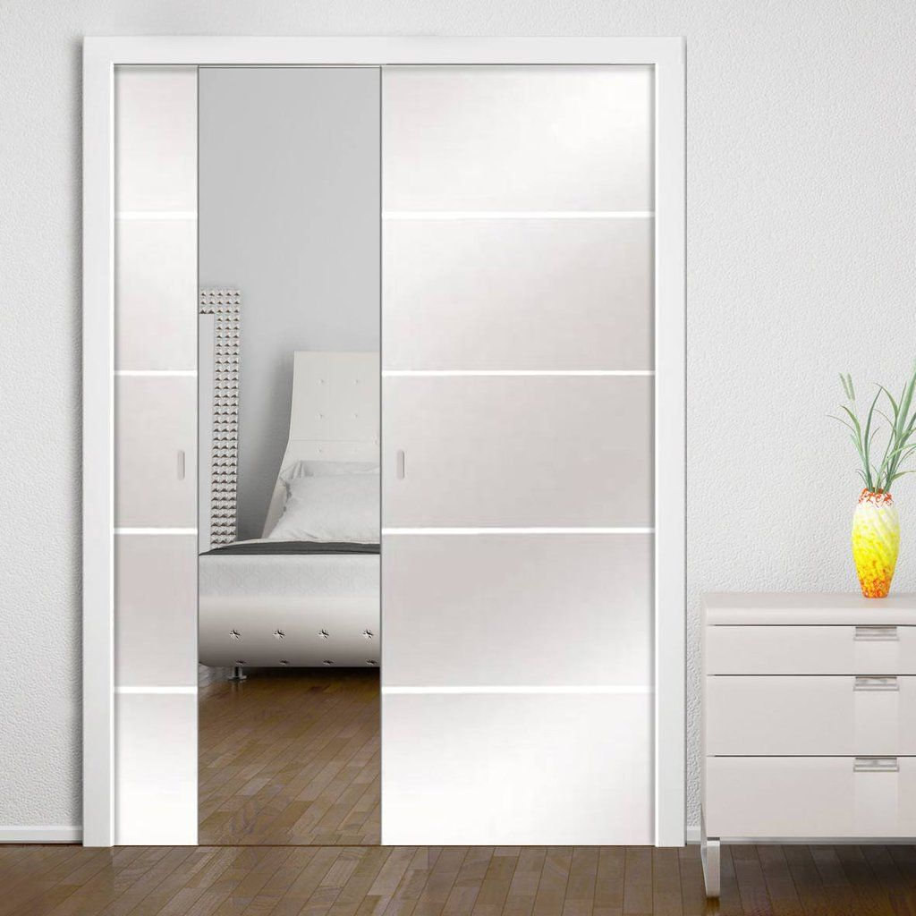 Eclisse Classic 8mm Satin Glass Double Doors With Clear Lines And Double Pocket Cassette Glassdoors Pocket Doors Glass Pocket Doors Sliding Pocket Doors