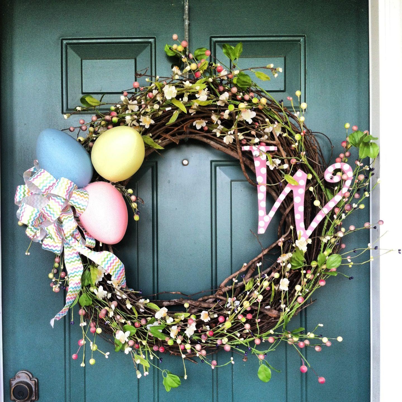 Easter wreath easter monogram wreath primitive easter