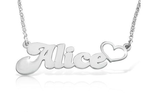 d518e0d7351 White Gold Nameplate Necklace With Heart Name Locket Necklace Name Necklace  White Gold Heart Necklac