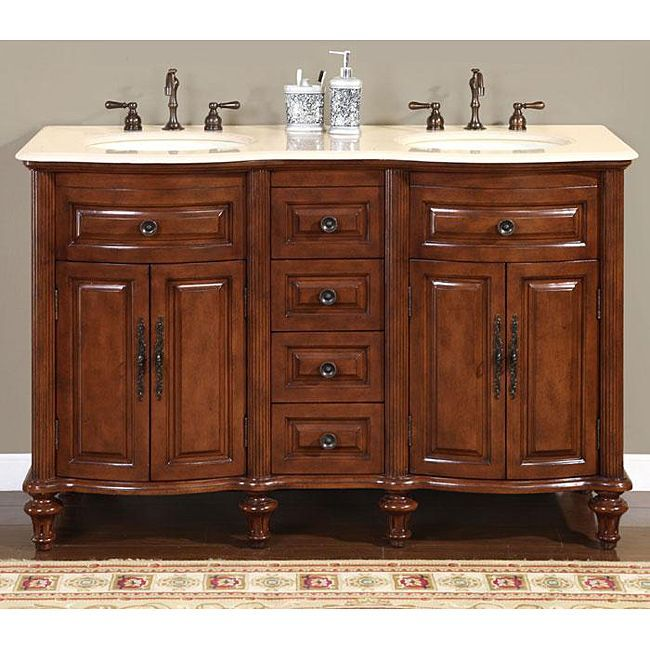 Photo On Silkroad Exclusive Wood and Crema inch Marble Double Bathroom Vanity Overstock Shopping Great Deals on Silkroad Exclusive Bathroom Vanities