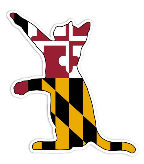 Maryland flag cat vinyl sticker