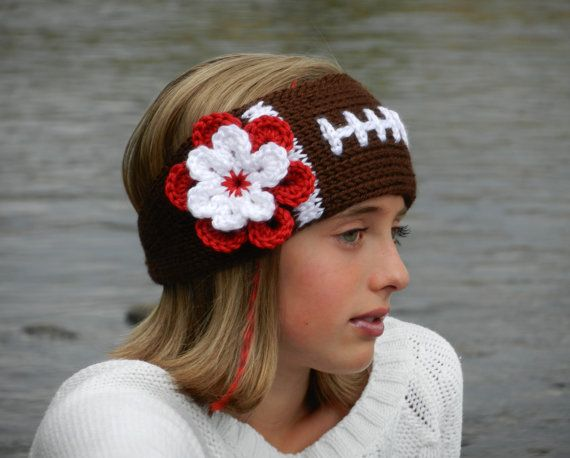Tunisian Knit Look Crochet Football Headband Earwarmer Pattern