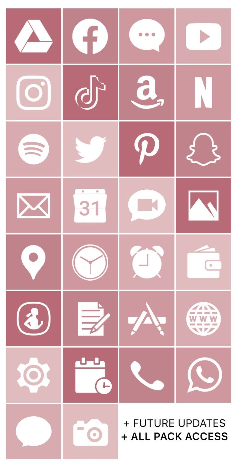 iOS Icon Lifetime All Access Pack | Rose Gold iPho