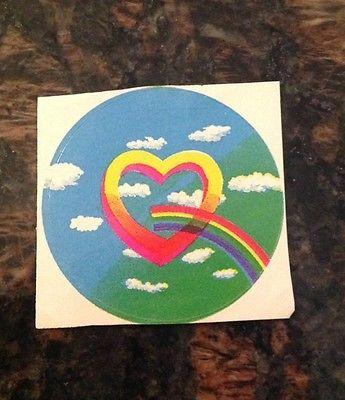 Vintage 80's Rainbow Heart Sticker - Rare