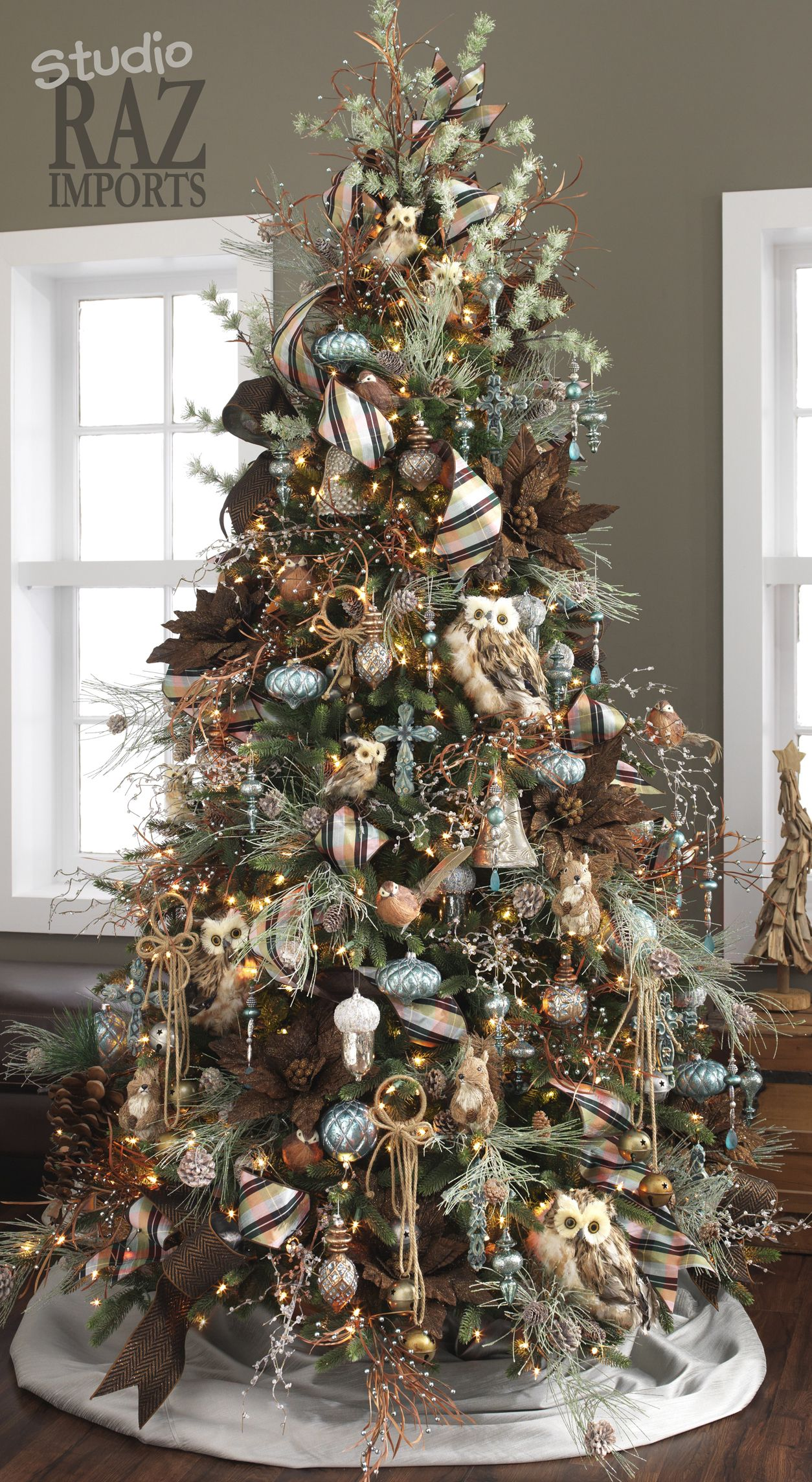 Christmas tree ideas rustic woodland owls herringbone ribbon