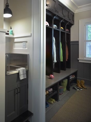 Rehkamp Larson Architects Chic Gray Mudroom Design With Gray Cabinets Stainless Steel Sink And Glossy Black Mudroom Lockers Laundry Mud Room Mudroom