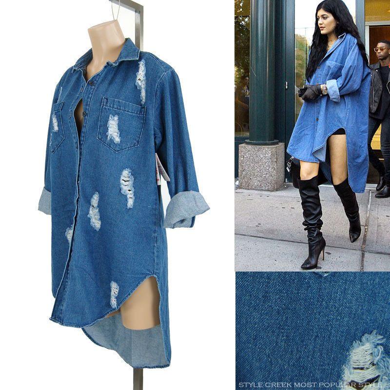 7a9b9dc5cbc New Kylie Jenner Style Sheath Distressed Oversize Tunic Denim Shirt Dress  XS ~ L  Other  DenimshirtDress  Casual