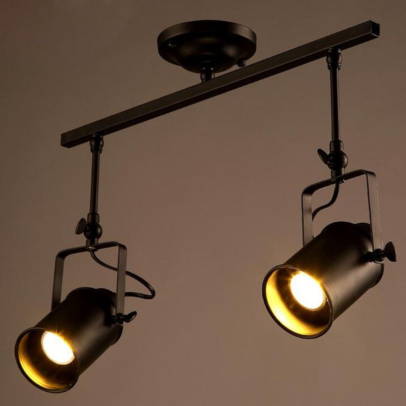 Nordic Retro Loft Track Light Rh American Led Black Ceiling Vintage Spot Pendant Lamp