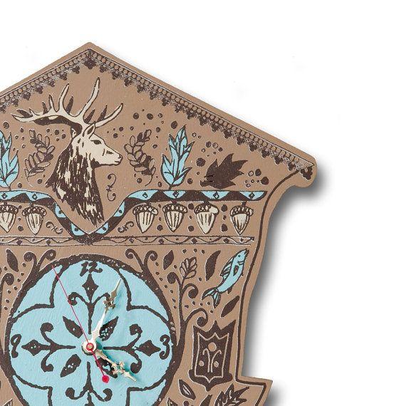 ON SALE Seasonal Cuckoo Clock Brown Wood with Deer by dolangeiman, $75.00