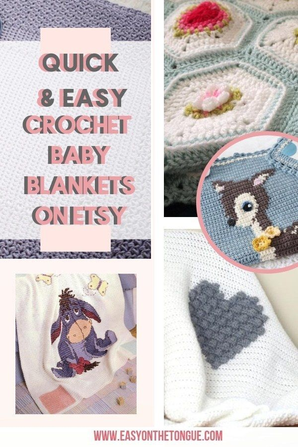 Quick and Easy Crochet Baby Blanket Patterns on Etsy to make images